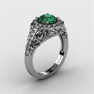 Italian 14k white gold 10 ct emerald diamond engagement for 1 ct wedding ring