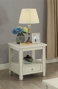 Furniture, Of, America, Wahlberg, Rustic, Louvered, Antique, White, End, Table