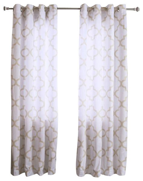 Moroccan Print Curtain Panels by Best Home Fashion Velvet Moroccan Print Grommet