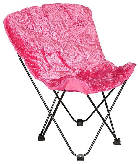 folding butterfly chair with padded faux fur seat and