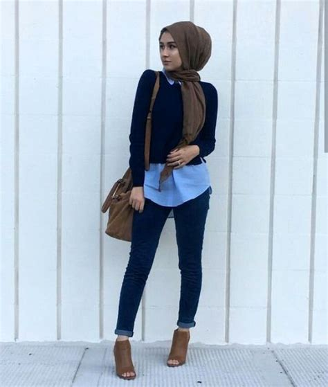 tan hijabscarf navy sweater blue button  business