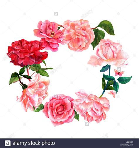 fresh petals floral wreath with watercolor flowers including