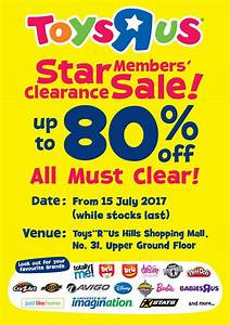 Toys R Us : Star Member Clearance Sale @ Hills Shopping ...