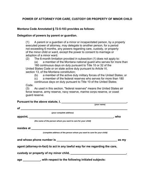 montana minor child power  attorney form