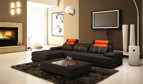 living room with ottoman modern contemporary espresso leather sectional sofa with