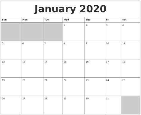 january blank printable calendar