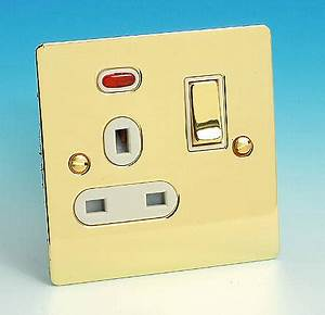 13 Amp Single Switched Socket Neon Brass