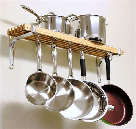 Kitchen Wall Rack Pots Pans by Wooden Shelf Pots Pans Hanger Wall Mount Rack Cookware