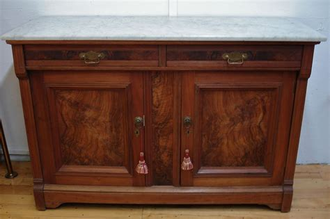 Antique Marble Top Sideboard by Antique Burl Walnut Marble Top Server C 1800 S