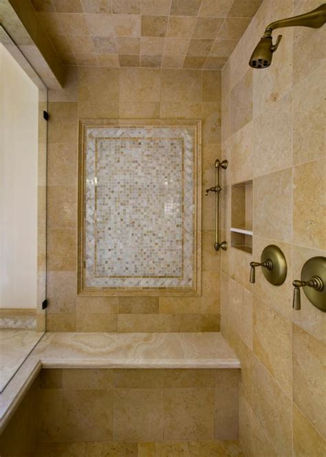 Neutral Tile Shower With Antique Gold Plumbing Hgtv