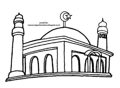 mewarnai gambar mewarnai gambar sketsa masjid 2