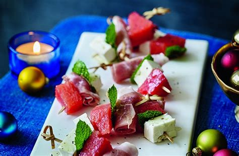 50 and easy canapes watermelon cured ham and feta