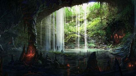 cool cave Fantasy landscape Scenery Waterfall wallpaper
