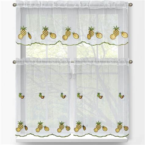 pineapple home decor kitchen window elements sheer pineapple embroidered 3
