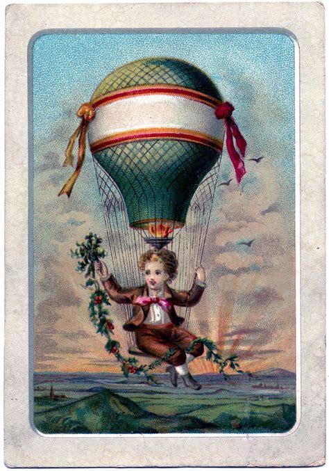 vintage graphic boy  hot air balloon  graphics fairy