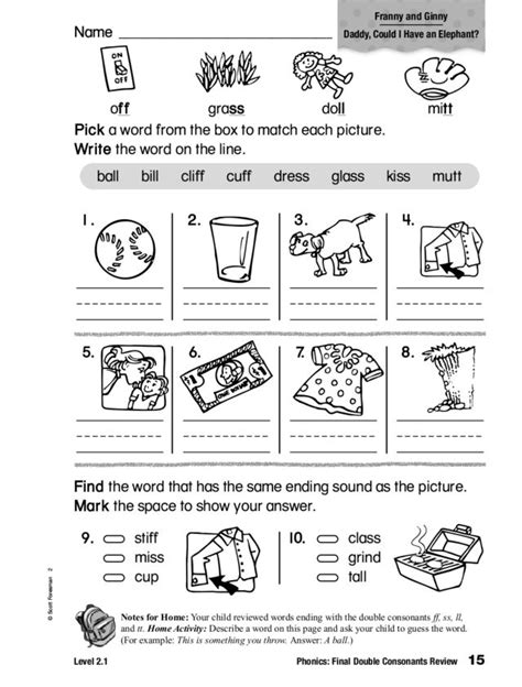 Phonics Final Double Consonants Review Worksheet  Lesson Planet  1st Grade  Pinterest 파닉스