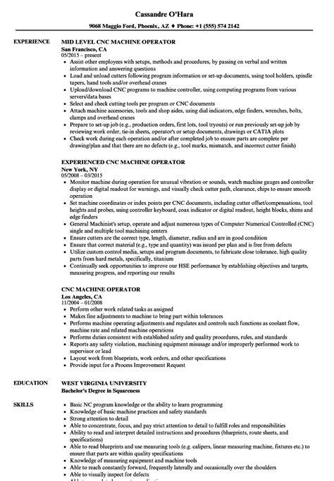Machine Operator Skills For Resume by Cnc Operator Resume Eezeecommerce