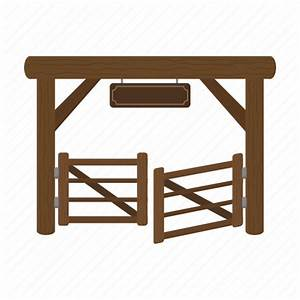 Farm, gate, paddock, ranch, stable, wooden icon