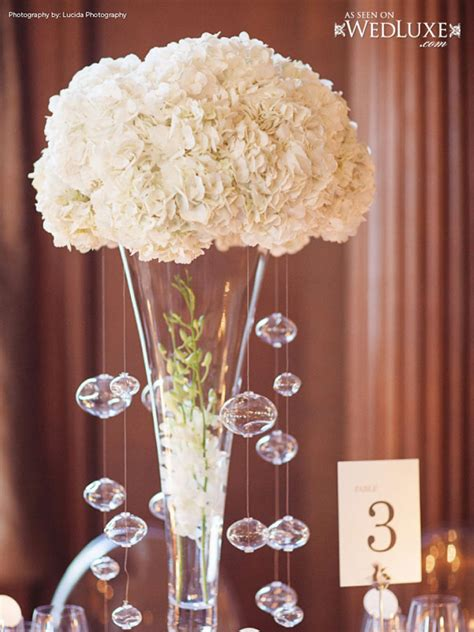 tall white wedding centerpieces  crystal hanging