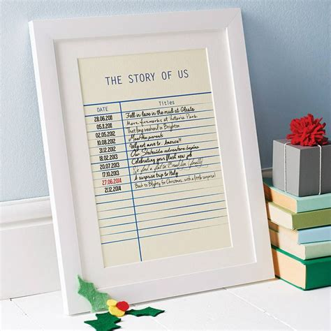 personalised story library card print st wedding