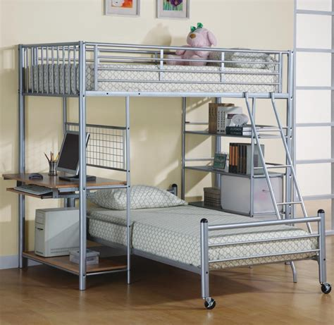 bunk loft with desk bedroom space saving ideas using bunk bed loft bed