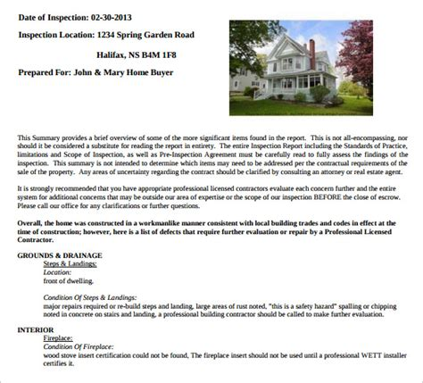 sample home inspection reports sample templates