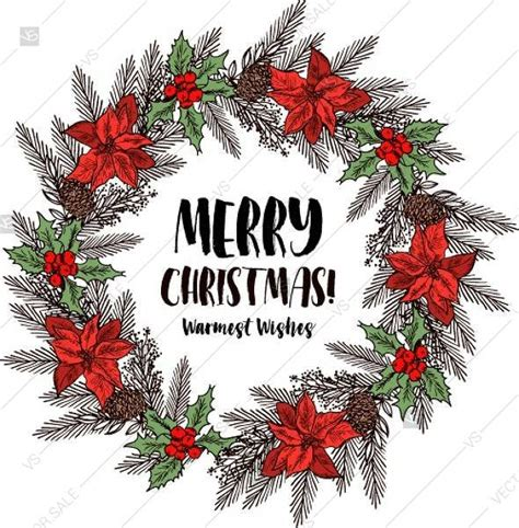 Merry Christmas Party invitation poinsettia wreath poster