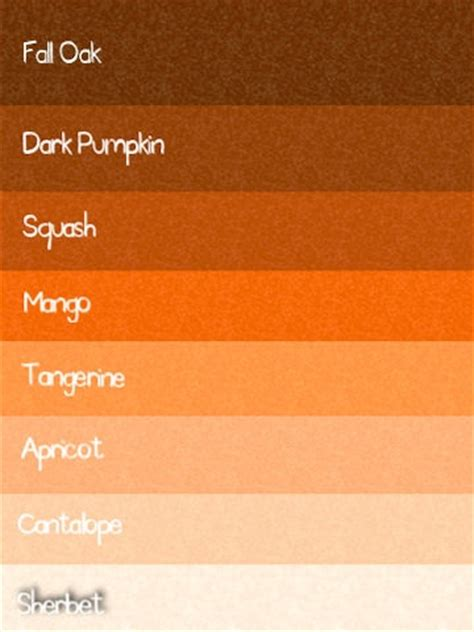 names of different shades of orange loris decoration