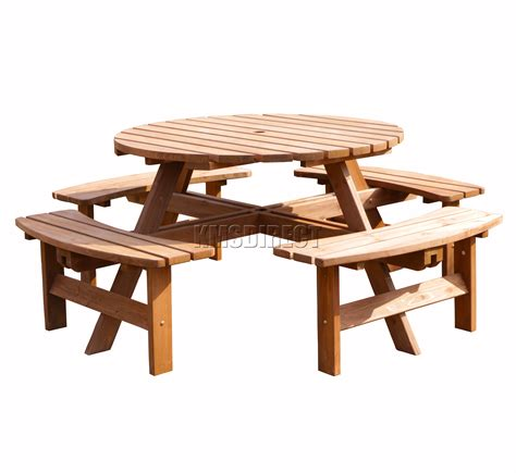 round wooden outdoor table garden patio 8 seater wooden pub bench round picnic table