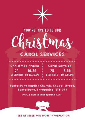 Christmas Carol Service Invitation Cards (A6) TruthVine