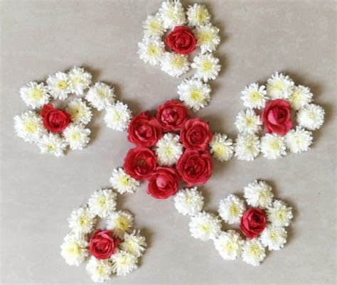 easy  fast flower rangoli designs