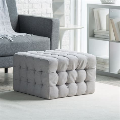 Tufted Square Ottoman by Belham Living Allover Tufted Square Ottoman Grey