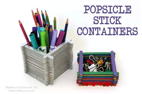 kids craft popsicle stick containers