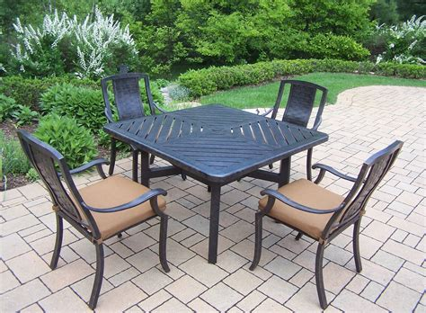 oakland living aluminum patio dining set w 48x48 quot table