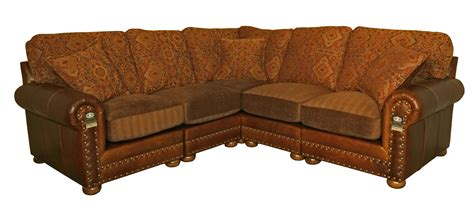 Leather And Cloth Sectional Sofas Traditional Sectional L