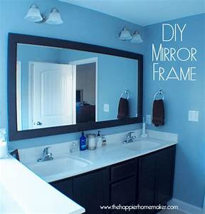 Diy bathroom mirror frame with molding the happier homemaker for Molding around mirror bathroom
