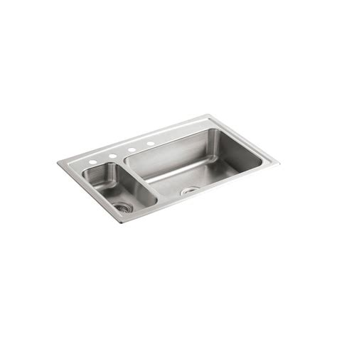 kohler stainless steel sink and faucet package kohler toccata drop in stainless steel 33 in 4 hole