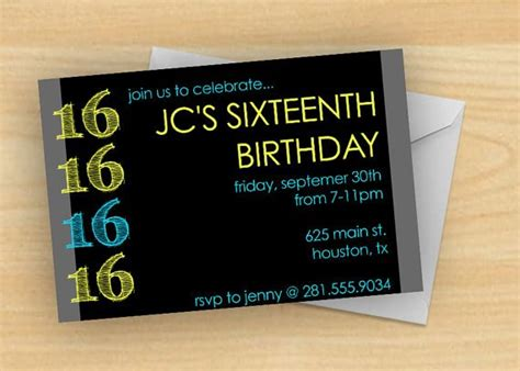 16th Birthday Invitations for Boys FREE PRINTABLE