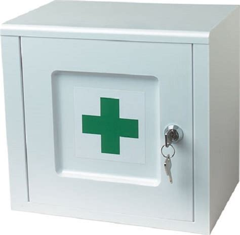 lockable medicine cabinet white with green cross logo