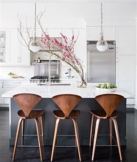 Charcoal Gray Kitchen Island with White Marble Counters