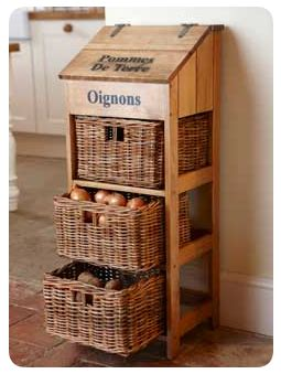 Vegetable, Potato, Onion Storage Using Wicker Drawers