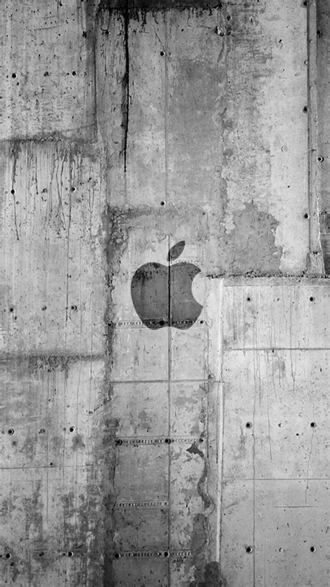 apple logo concrete wall iphone 5s wallpaper wallpapers