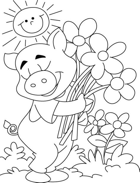 Free Printable Sun happy flowers happy makes pig happy