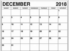 December 2018 Calendar Printable Template PDF UK USA