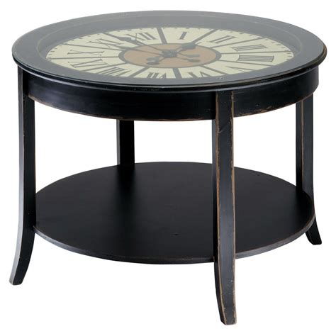 Wooden Clock Coffee Table In Black W 72cm Teatime