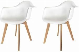 Chaise Avec Accoudoir But : lot de 2 chaises scandinaves avec accoudoir blanches norway design sur sofactory ~ Teatrodelosmanantiales.com Idées de Décoration