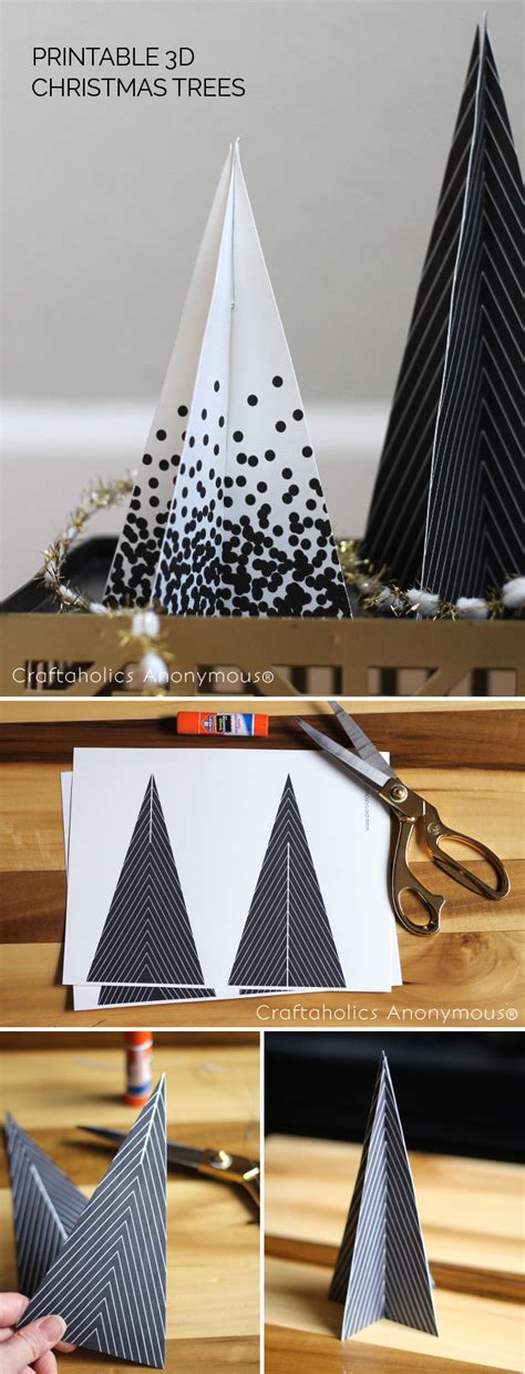 Craftaholics Anonymous®  Free Printable 3d Christmas Trees