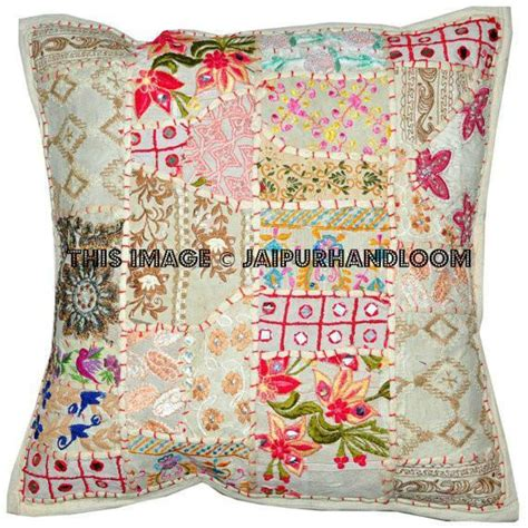 Large Bohemian Floor Pillows by 24x24 White Bohemian Patchwork Floor Cushions Handmade
