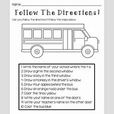 Back To School Follow The Directions Worksheet By Kids And Coffee