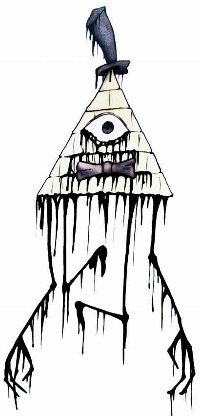 Bill Cipher Creepy Drawing Fanart Gravity Falls